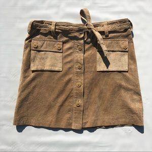 Tan Leather Military Cargo Waist Tie Mini Skirt